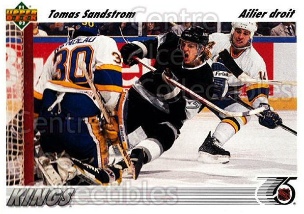 1991-92 Upper Deck French #141 Tomas Sandstrom<br/>13 In Stock - $1.00 each - <a href=https://centericecollectibles.foxycart.com/cart?name=1991-92%20Upper%20Deck%20French%20%23141%20Tomas%20Sandstrom...&quantity_max=13&price=$1.00&code=261760 class=foxycart> Buy it now! </a>