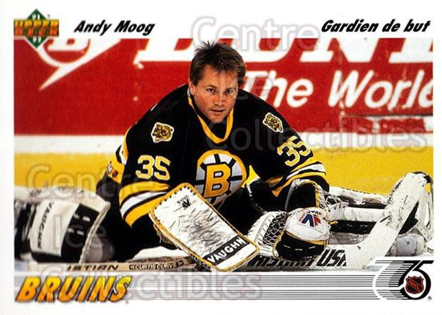 1991-92 Upper Deck French #147 Andy Moog<br/>14 In Stock - $1.00 each - <a href=https://centericecollectibles.foxycart.com/cart?name=1991-92%20Upper%20Deck%20French%20%23147%20Andy%20Moog...&quantity_max=14&price=$1.00&code=261766 class=foxycart> Buy it now! </a>