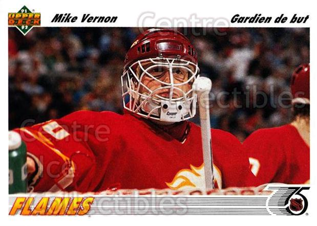 1991-92 Upper Deck French #163 Mike Vernon<br/>13 In Stock - $1.00 each - <a href=https://centericecollectibles.foxycart.com/cart?name=1991-92%20Upper%20Deck%20French%20%23163%20Mike%20Vernon...&quantity_max=13&price=$1.00&code=261782 class=foxycart> Buy it now! </a>