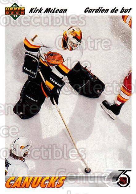 1991-92 Upper Deck French #191 Kirk McLean<br/>13 In Stock - $1.00 each - <a href=https://centericecollectibles.foxycart.com/cart?name=1991-92%20Upper%20Deck%20French%20%23191%20Kirk%20McLean...&quantity_max=13&price=$1.00&code=261810 class=foxycart> Buy it now! </a>