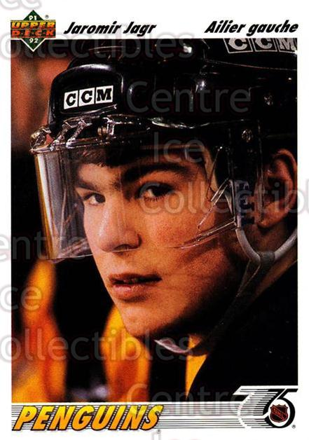 1991-92 Upper Deck French #256 Jaromir Jagr<br/>11 In Stock - $2.00 each - <a href=https://centericecollectibles.foxycart.com/cart?name=1991-92%20Upper%20Deck%20French%20%23256%20Jaromir%20Jagr...&quantity_max=11&price=$2.00&code=261875 class=foxycart> Buy it now! </a>