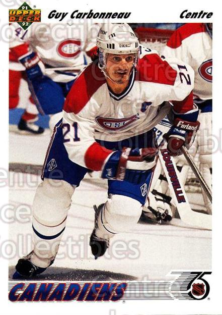 1991-92 Upper Deck French #265 Guy Carbonneau<br/>13 In Stock - $1.00 each - <a href=https://centericecollectibles.foxycart.com/cart?name=1991-92%20Upper%20Deck%20French%20%23265%20Guy%20Carbonneau...&quantity_max=13&price=$1.00&code=261884 class=foxycart> Buy it now! </a>