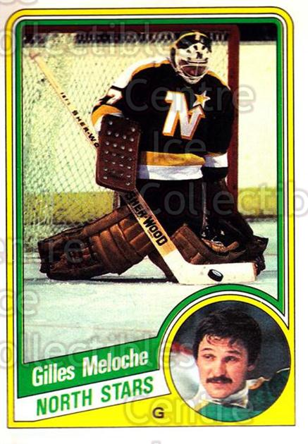 1984-85 O-Pee-Chee #104 Gilles Meloche<br/>7 In Stock - $1.00 each - <a href=https://centericecollectibles.foxycart.com/cart?name=1984-85%20O-Pee-Chee%20%23104%20Gilles%20Meloche...&quantity_max=7&price=$1.00&code=26256 class=foxycart> Buy it now! </a>