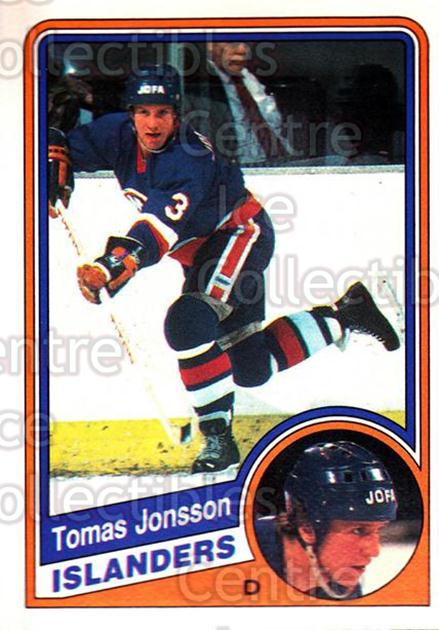 1984-85 O-Pee-Chee #128 Tomas Jonsson<br/>8 In Stock - $1.00 each - <a href=https://centericecollectibles.foxycart.com/cart?name=1984-85%20O-Pee-Chee%20%23128%20Tomas%20Jonsson...&quantity_max=8&price=$1.00&code=26280 class=foxycart> Buy it now! </a>