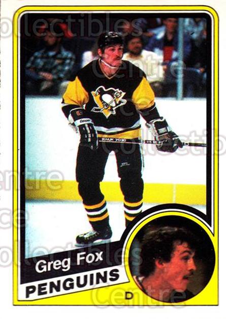 1984-85 O-Pee-Chee #175 Greg Fox<br/>7 In Stock - $1.00 each - <a href=https://centericecollectibles.foxycart.com/cart?name=1984-85%20O-Pee-Chee%20%23175%20Greg%20Fox...&quantity_max=7&price=$1.00&code=26324 class=foxycart> Buy it now! </a>