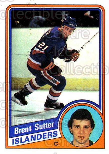 1984-85 Topps #102 Brent Sutter<br/>6 In Stock - $1.00 each - <a href=https://centericecollectibles.foxycart.com/cart?name=1984-85%20Topps%20%23102%20Brent%20Sutter...&quantity_max=6&price=$1.00&code=26495 class=foxycart> Buy it now! </a>
