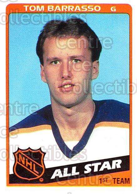 1984-85 Topps #158 Tom Barrasso<br/>3 In Stock - $1.00 each - <a href=https://centericecollectibles.foxycart.com/cart?name=1984-85%20Topps%20%23158%20Tom%20Barrasso...&price=$1.00&code=26552 class=foxycart> Buy it now! </a>