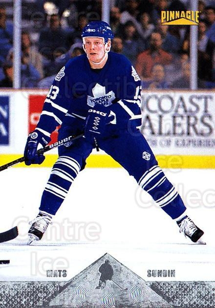 1996-97 Pinnacle Silver Foil #144 Mats Sundin<br/>7 In Stock - $1.00 each - <a href=https://centericecollectibles.foxycart.com/cart?name=1996-97%20Pinnacle%20Silver%20Foil%20%23144%20Mats%20Sundin...&quantity_max=7&price=$1.00&code=265659 class=foxycart> Buy it now! </a>