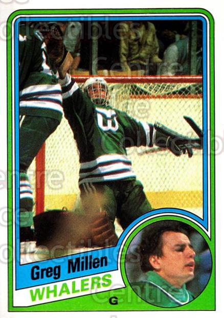 1984-85 Topps #58 Greg Millen<br/>8 In Stock - $1.00 each - <a href=https://centericecollectibles.foxycart.com/cart?name=1984-85%20Topps%20%2358%20Greg%20Millen...&quantity_max=8&price=$1.00&code=26603 class=foxycart> Buy it now! </a>