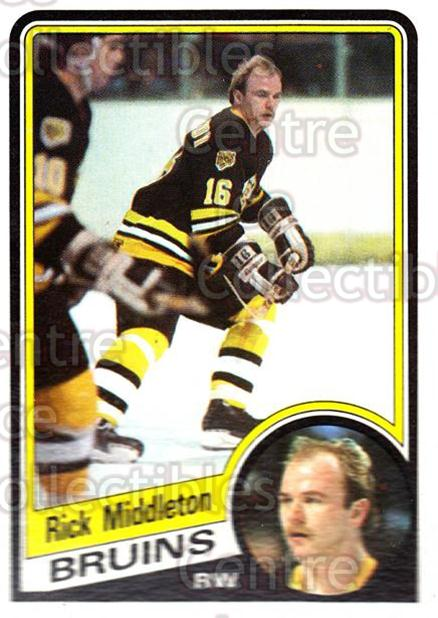 1984-85 Topps #8 Rick Middleton<br/>6 In Stock - $1.00 each - <a href=https://centericecollectibles.foxycart.com/cart?name=1984-85%20Topps%20%238%20Rick%20Middleton...&quantity_max=6&price=$1.00&code=26627 class=foxycart> Buy it now! </a>