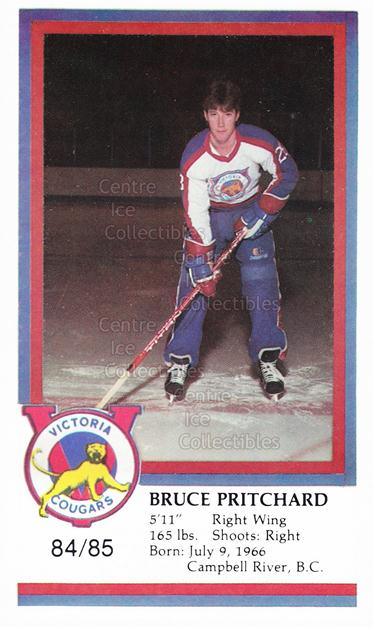 1984-85 Victoria Cougars #19 Bruce Pritchard<br/>7 In Stock - $3.00 each - <a href=https://centericecollectibles.foxycart.com/cart?name=1984-85%20Victoria%20Cougars%20%2319%20Bruce%20Pritchard...&price=$3.00&code=26645 class=foxycart> Buy it now! </a>