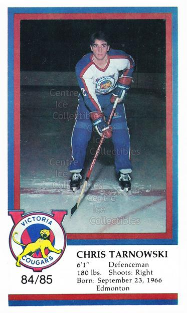1984-85 Victoria Cougars #24 Chris Tarnowski<br/>9 In Stock - $3.00 each - <a href=https://centericecollectibles.foxycart.com/cart?name=1984-85%20Victoria%20Cougars%20%2324%20Chris%20Tarnowski...&price=$3.00&code=26650 class=foxycart> Buy it now! </a>