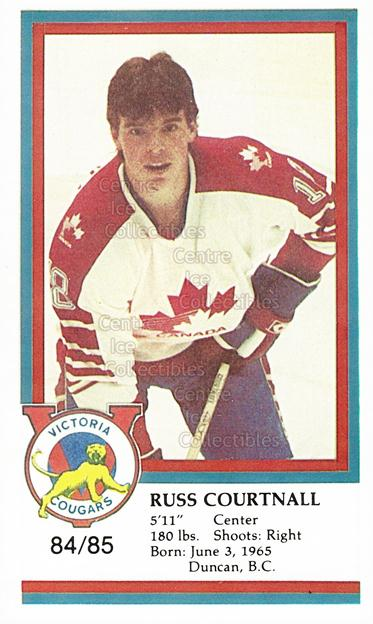 1984-85 Victoria Cougars #7 Russ Courtnall<br/>7 In Stock - $3.00 each - <a href=https://centericecollectibles.foxycart.com/cart?name=1984-85%20Victoria%20Cougars%20%237%20Russ%20Courtnall...&price=$3.00&code=26655 class=foxycart> Buy it now! </a>
