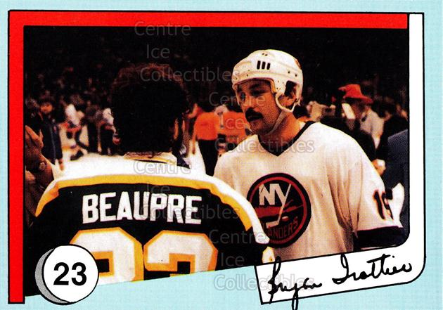 1985 New York Islanders News Bryan Trottier #23 Don Beaupre, Bryan Trottier<br/>5 In Stock - $2.00 each - <a href=https://centericecollectibles.foxycart.com/cart?name=1985%20New%20York%20Islanders%20News%20Bryan%20Trottier%20%2323%20Don%20Beaupre,%20Br...&quantity_max=5&price=$2.00&code=26681 class=foxycart> Buy it now! </a>