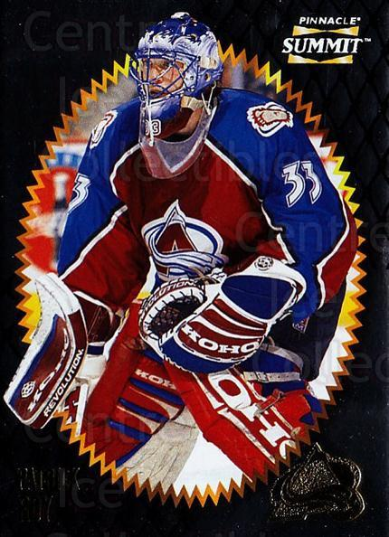 1996-97 Summit Metal Dull Front #87 Patrick Roy<br/>1 In Stock - $5.00 each - <a href=https://centericecollectibles.foxycart.com/cart?name=1996-97%20Summit%20Metal%20Dull%20Front%20%2387%20Patrick%20Roy...&quantity_max=1&price=$5.00&code=267202 class=foxycart> Buy it now! </a>