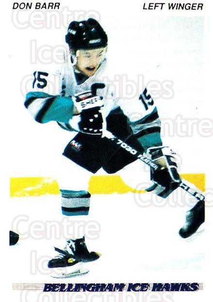 1992-93 British Columbia Junior Hockey League #4 Don Barr<br/>3 In Stock - $2.00 each - <a href=https://centericecollectibles.foxycart.com/cart?name=1992-93%20British%20Columbia%20Junior%20Hockey%20League%20%234%20Don%20Barr...&quantity_max=3&price=$2.00&code=268532 class=foxycart> Buy it now! </a>