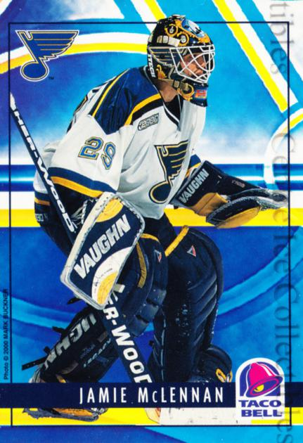1999-00 St. Louis Blues Taco Bell #3 Jamie McLennan<br/>3 In Stock - $3.00 each - <a href=https://centericecollectibles.foxycart.com/cart?name=1999-00%20St.%20Louis%20Blues%20Taco%20Bell%20%233%20Jamie%20McLennan...&quantity_max=3&price=$3.00&code=268946 class=foxycart> Buy it now! </a>