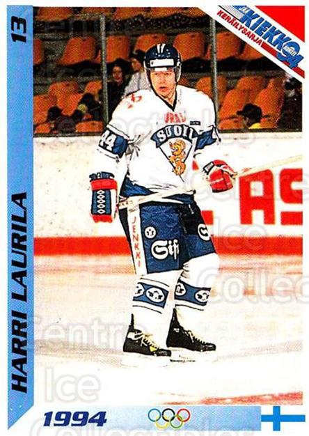 1994 Finnish Jaa Kiekko #13 Harri Laurila<br/>2 In Stock - $2.00 each - <a href=https://centericecollectibles.foxycart.com/cart?name=1994%20Finnish%20Jaa%20Kiekko%20%2313%20Harri%20Laurila...&quantity_max=2&price=$2.00&code=2689 class=foxycart> Buy it now! </a>