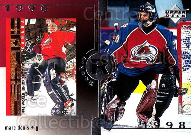 1998-99 Upper Deck #25 Marc Denis<br/>2 In Stock - $3.00 each - <a href=https://centericecollectibles.foxycart.com/cart?name=1998-99%20Upper%20Deck%20%2325%20Marc%20Denis...&quantity_max=2&price=$3.00&code=269004 class=foxycart> Buy it now! </a>