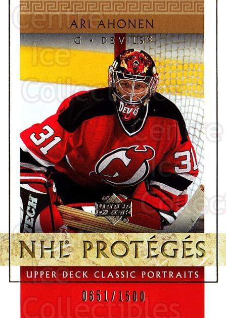 2002-03 UD Classic Portraits #135 Ari Ahonen<br/>5 In Stock - $3.00 each - <a href=https://centericecollectibles.foxycart.com/cart?name=2002-03%20UD%20Classic%20Portraits%20%23135%20Ari%20Ahonen...&quantity_max=5&price=$3.00&code=269189 class=foxycart> Buy it now! </a>