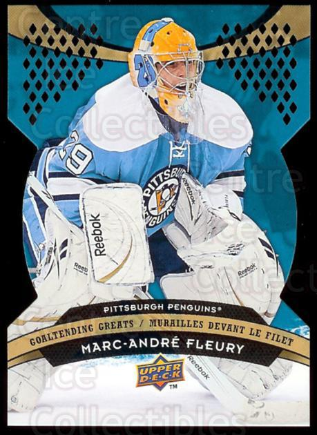 2009-10 McDonalds Upper Deck Goaltending Greats #5 Marc-Andre Fleury<br/>4 In Stock - $3.00 each - <a href=https://centericecollectibles.foxycart.com/cart?name=2009-10%20McDonalds%20Upper%20Deck%20Goaltending%20Greats%20%235%20Marc-Andre%20Fleu...&quantity_max=4&price=$3.00&code=269249 class=foxycart> Buy it now! </a>