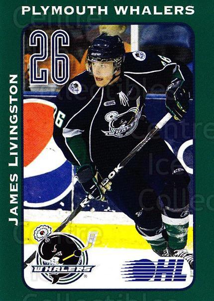 2009-10 Plymouth Whalers #15 James Livingston<br/>3 In Stock - $3.00 each - <a href=https://centericecollectibles.foxycart.com/cart?name=2009-10%20Plymouth%20Whalers%20%2315%20James%20Livingsto...&price=$3.00&code=269273 class=foxycart> Buy it now! </a>