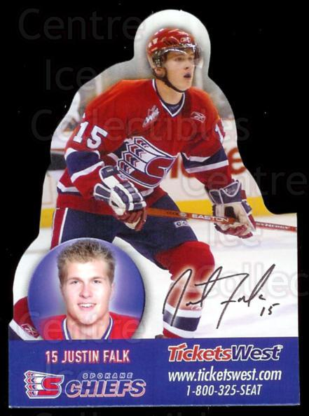 2007-08 Spokane Chiefs Magnets #2 Justin Falk<br/>2 In Stock - $3.00 each - <a href=https://centericecollectibles.foxycart.com/cart?name=2007-08%20Spokane%20Chiefs%20Magnets%20%232%20Justin%20Falk...&quantity_max=2&price=$3.00&code=269543 class=foxycart> Buy it now! </a>