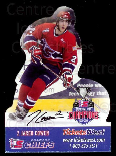 2008-09 Spokane Chiefs Magnets #2 Jared Cowen<br/>2 In Stock - $3.00 each - <a href=https://centericecollectibles.foxycart.com/cart?name=2008-09%20Spokane%20Chiefs%20Magnets%20%232%20Jared%20Cowen...&quantity_max=2&price=$3.00&code=269552 class=foxycart> Buy it now! </a>