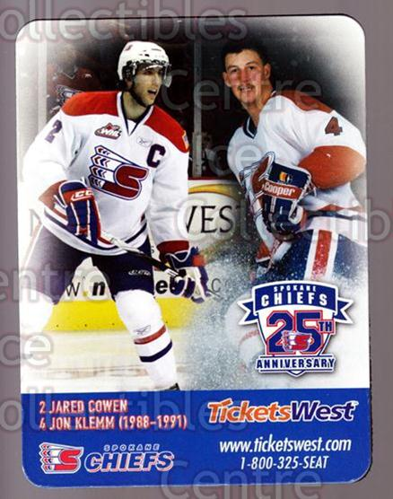 2009-10 Spokane Chiefs Magnets #4 Jared Cowen, Jon Klemm<br/>1 In Stock - $3.00 each - <a href=https://centericecollectibles.foxycart.com/cart?name=2009-10%20Spokane%20Chiefs%20Magnets%20%234%20Jared%20Cowen,%20Jo...&quantity_max=1&price=$3.00&code=269563 class=foxycart> Buy it now! </a>