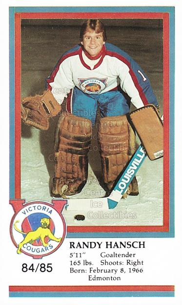 1984-85 Victoria Cougars #11 Randy Hansch<br/>7 In Stock - $3.00 each - <a href=https://centericecollectibles.foxycart.com/cart?name=1984-85%20Victoria%20Cougars%20%2311%20Randy%20Hansch...&price=$3.00&code=269876 class=foxycart> Buy it now! </a>