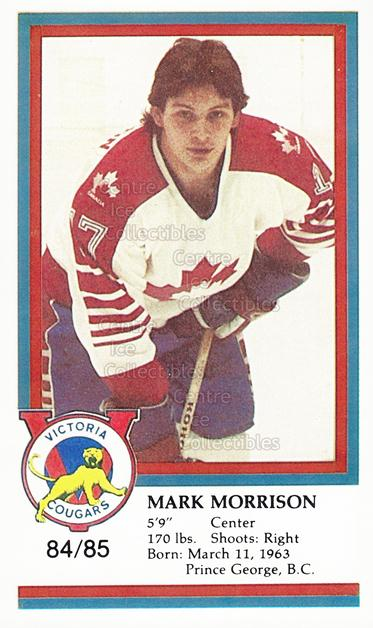 1984-85 Victoria Cougars #16 Mark Morrison<br/>1 In Stock - $3.00 each - <a href=https://centericecollectibles.foxycart.com/cart?name=1984-85%20Victoria%20Cougars%20%2316%20Mark%20Morrison...&quantity_max=1&price=$3.00&code=269877 class=foxycart> Buy it now! </a>