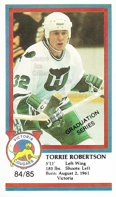 1984-85 Victoria Cougars #20 Torrie Robertson<br/>5 In Stock - $3.00 each - <a href=https://centericecollectibles.foxycart.com/cart?name=1984-85%20Victoria%20Cougars%20%2320%20Torrie%20Robertso...&price=$3.00&code=269879 class=foxycart> Buy it now! </a>