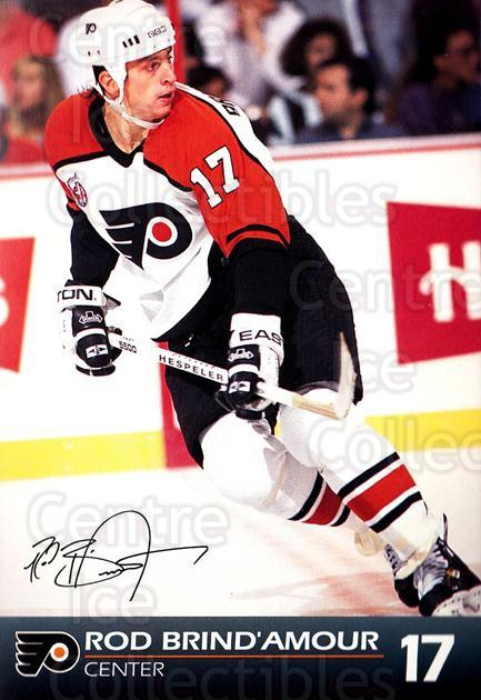 1992-93 Philadelphia Flyers Postcards #4 Rod Brind'Amour<br/>1 In Stock - $3.00 each - <a href=https://centericecollectibles.foxycart.com/cart?name=1992-93%20Philadelphia%20Flyers%20Postcards%20%234%20Rod%20Brind'Amour...&quantity_max=1&price=$3.00&code=269880 class=foxycart> Buy it now! </a>