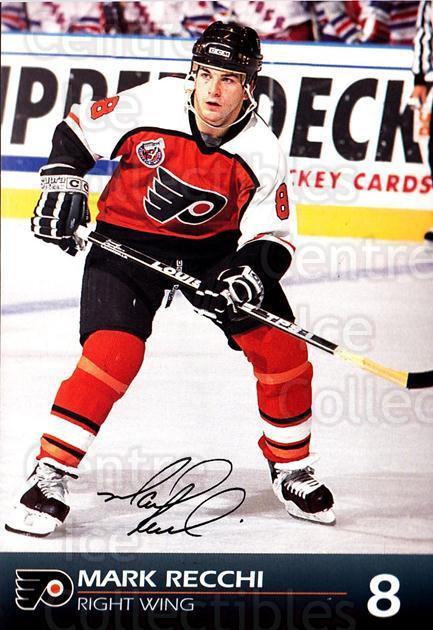 1992-93 Philadelphia Flyers Postcards #20 Mark Recchi<br/>1 In Stock - $3.00 each - <a href=https://centericecollectibles.foxycart.com/cart?name=1992-93%20Philadelphia%20Flyers%20Postcards%20%2320%20Mark%20Recchi...&quantity_max=1&price=$3.00&code=269888 class=foxycart> Buy it now! </a>