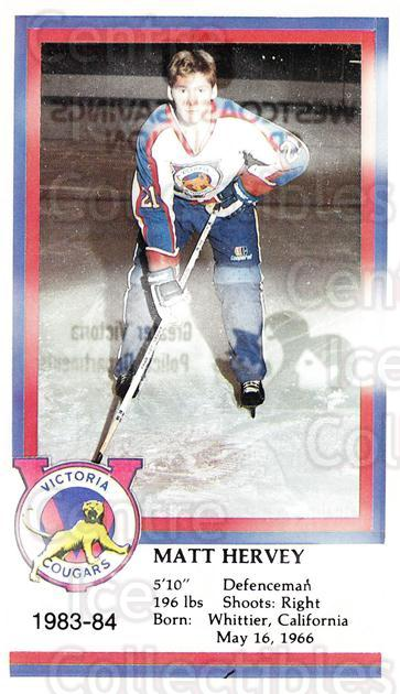 1983-84 Victoria Cougars #11 Matt Hervey<br/>3 In Stock - $3.00 each - <a href=https://centericecollectibles.foxycart.com/cart?name=1983-84%20Victoria%20Cougars%20%2311%20Matt%20Hervey...&price=$3.00&code=26999 class=foxycart> Buy it now! </a>