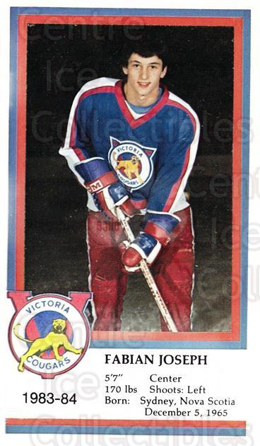 1983-84 Victoria Cougars #12 Fabian Joseph<br/>5 In Stock - $3.00 each - <a href=https://centericecollectibles.foxycart.com/cart?name=1983-84%20Victoria%20Cougars%20%2312%20Fabian%20Joseph...&price=$3.00&code=27000 class=foxycart> Buy it now! </a>