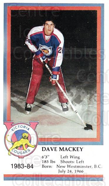 1983-84 Victoria Cougars #16 Dave Mackey<br/>5 In Stock - $3.00 each - <a href=https://centericecollectibles.foxycart.com/cart?name=1983-84%20Victoria%20Cougars%20%2316%20Dave%20Mackey...&price=$3.00&code=27004 class=foxycart> Buy it now! </a>