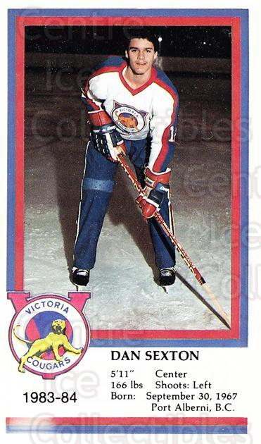 1983-84 Victoria Cougars #21 Dan Sexton<br/>6 In Stock - $3.00 each - <a href=https://centericecollectibles.foxycart.com/cart?name=1983-84%20Victoria%20Cougars%20%2321%20Dan%20Sexton...&price=$3.00&code=27010 class=foxycart> Buy it now! </a>