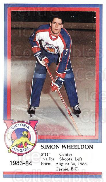 1983-84 Victoria Cougars #24 Simon Wheeldon<br/>3 In Stock - $3.00 each - <a href=https://centericecollectibles.foxycart.com/cart?name=1983-84%20Victoria%20Cougars%20%2324%20Simon%20Wheeldon...&price=$3.00&code=27013 class=foxycart> Buy it now! </a>