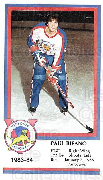 1983-84 Victoria Cougars #4 Paul Bifano<br/>6 In Stock - $3.00 each - <a href=https://centericecollectibles.foxycart.com/cart?name=1983-84%20Victoria%20Cougars%20%234%20Paul%20Bifano...&price=$3.00&code=27015 class=foxycart> Buy it now! </a>