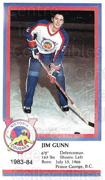 1983-84 Victoria Cougars #8 Jim Gunn<br/>6 In Stock - $3.00 each - <a href=https://centericecollectibles.foxycart.com/cart?name=1983-84%20Victoria%20Cougars%20%238%20Jim%20Gunn...&price=$3.00&code=27019 class=foxycart> Buy it now! </a>