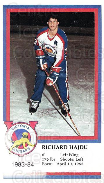 1983-84 Victoria Cougars #9 Richard Hajdu<br/>2 In Stock - $3.00 each - <a href=https://centericecollectibles.foxycart.com/cart?name=1983-84%20Victoria%20Cougars%20%239%20Richard%20Hajdu...&price=$3.00&code=27020 class=foxycart> Buy it now! </a>