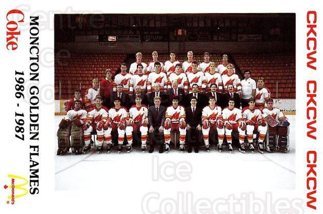1986-87 Moncton Golden Flames #9 Moncton Golden Flames, Team Photo<br/>3 In Stock - $3.00 each - <a href=https://centericecollectibles.foxycart.com/cart?name=1986-87%20Moncton%20Golden%20Flames%20%239%20Moncton%20Golden%20...&quantity_max=3&price=$3.00&code=270277 class=foxycart> Buy it now! </a>