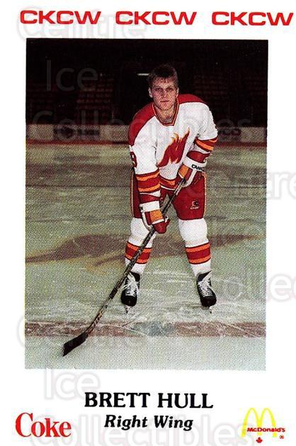 1986-87 Moncton Golden Flames #20 Brett Hull<br/>2 In Stock - $30.00 each - <a href=https://centericecollectibles.foxycart.com/cart?name=1986-87%20Moncton%20Golden%20Flames%20%2320%20Brett%20Hull...&price=$30.00&code=270288 class=foxycart> Buy it now! </a>
