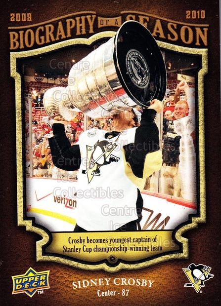 2009-10 Upper Deck Biography of a Season #1 Sidney Crosby, Stanley Cup<br/>3 In Stock - $3.00 each - <a href=https://centericecollectibles.foxycart.com/cart?name=2009-10%20Upper%20Deck%20Biography%20of%20a%20Season%20%231%20Sidney%20Crosby,%20...&price=$3.00&code=270920 class=foxycart> Buy it now! </a>