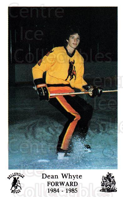1984-85 Belleville Bulls #21 Dean Whyte<br/>4 In Stock - $3.00 each - <a href=https://centericecollectibles.foxycart.com/cart?name=1984-85%20Belleville%20Bulls%20%2321%20Dean%20Whyte...&price=$3.00&code=27127 class=foxycart> Buy it now! </a>