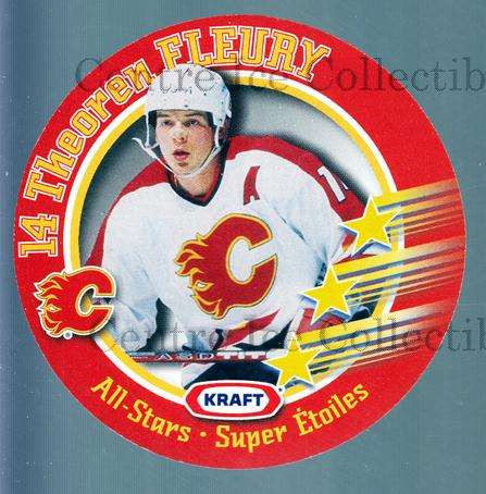 1995-96 Kraft Disc #5 Theo Fleury<br/>6 In Stock - $2.00 each - <a href=https://centericecollectibles.foxycart.com/cart?name=1995-96%20Kraft%20Disc%20%235%20Theo%20Fleury...&quantity_max=6&price=$2.00&code=271338 class=foxycart> Buy it now! </a>