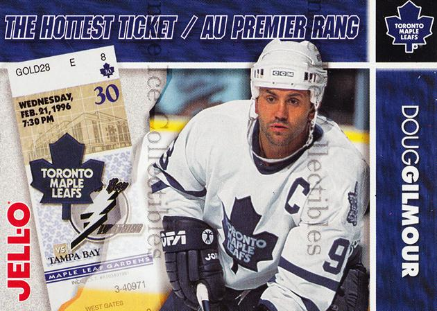 1995-96 Kraft Jell-O Hottest Tickets #6 Doug Gilmour<br/>5 In Stock - $3.00 each - <a href=https://centericecollectibles.foxycart.com/cart?name=1995-96%20Kraft%20Jell-O%20Hottest%20Tickets%20%236%20Doug%20Gilmour...&quantity_max=5&price=$3.00&code=271342 class=foxycart> Buy it now! </a>