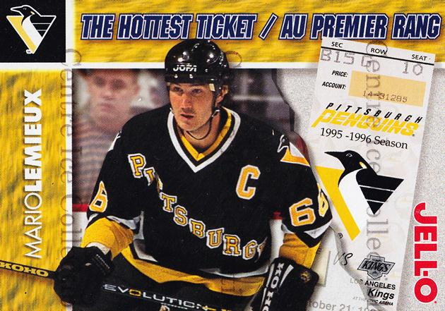 1995-96 Kraft Jell-O Hottest Tickets #9 Mario Lemieux<br/>3 In Stock - $5.00 each - <a href=https://centericecollectibles.foxycart.com/cart?name=1995-96%20Kraft%20Jell-O%20Hottest%20Tickets%20%239%20Mario%20Lemieux...&quantity_max=3&price=$5.00&code=271343 class=foxycart> Buy it now! </a>