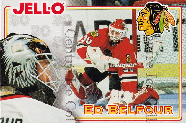 1995-96 Kraft Jell-O #3 Ed Belfour<br/>1 In Stock - $2.00 each - <a href=https://centericecollectibles.foxycart.com/cart?name=1995-96%20Kraft%20Jell-O%20%233%20Ed%20Belfour...&price=$2.00&code=271346 class=foxycart> Buy it now! </a>